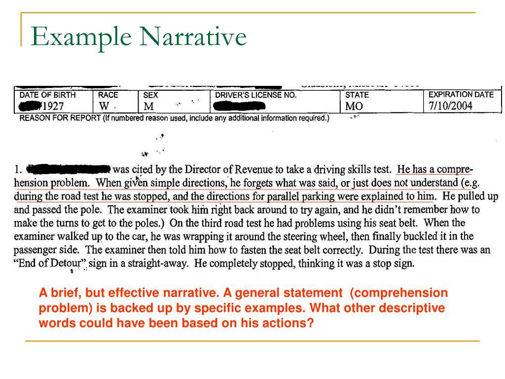 Example Narrative