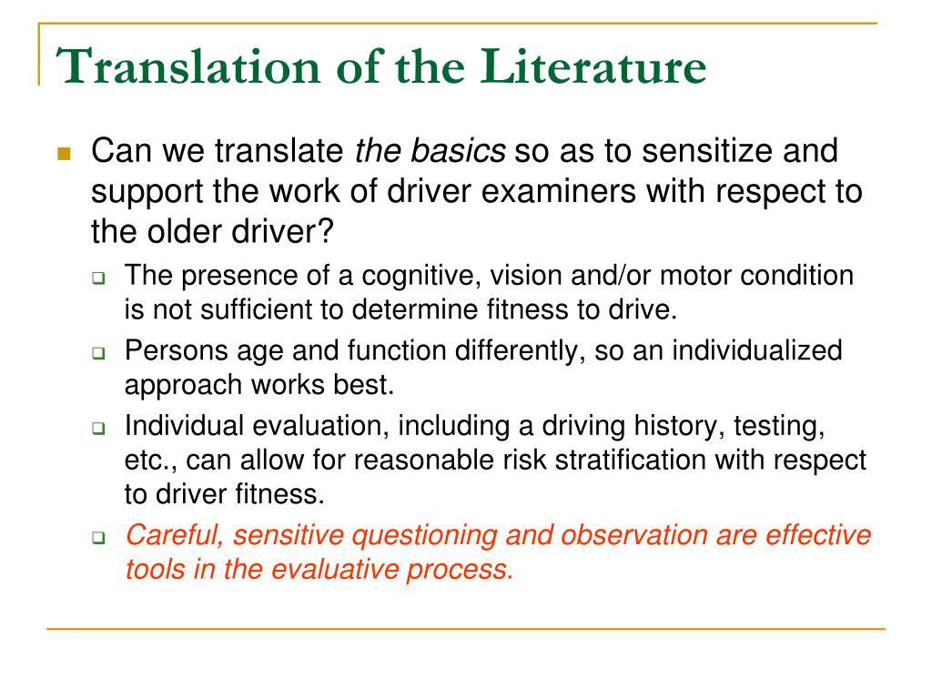 Translation of the Literature