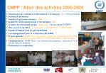 cmpp bilan des activit s 2000 2009