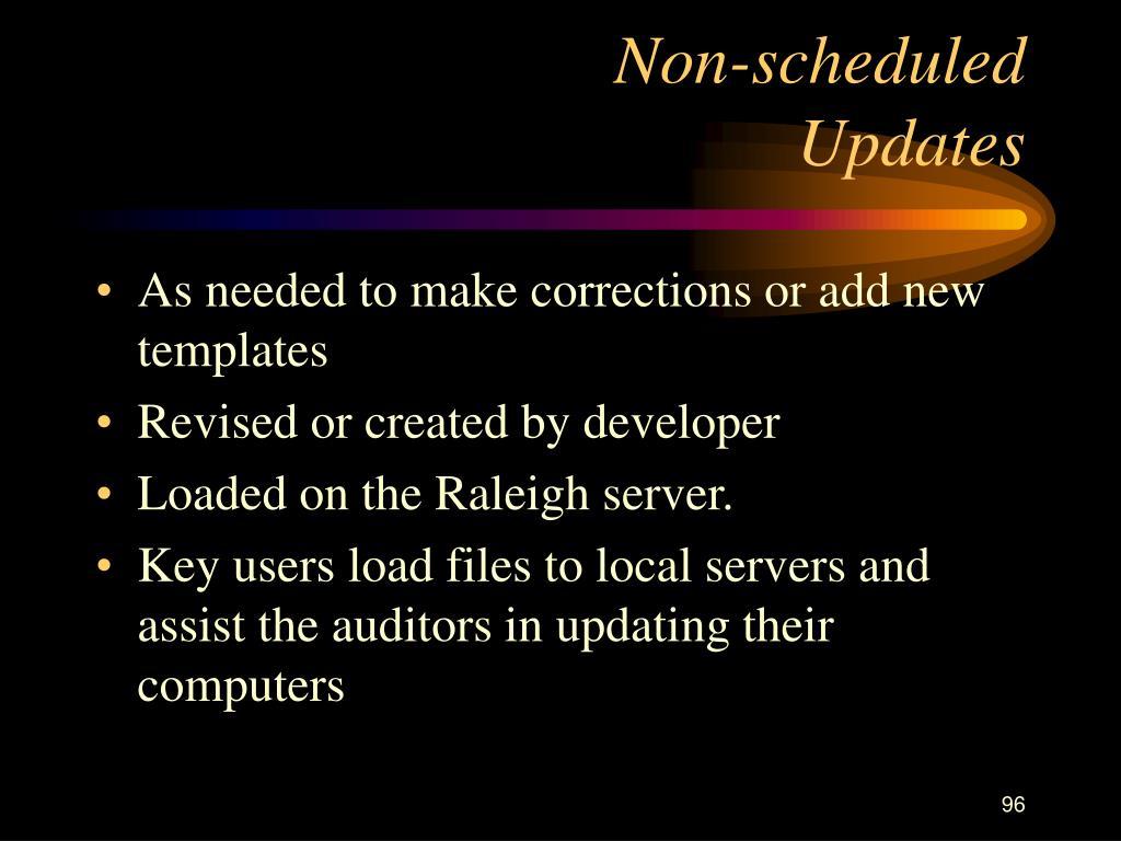 Non-scheduled                  Updates