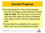 course progress