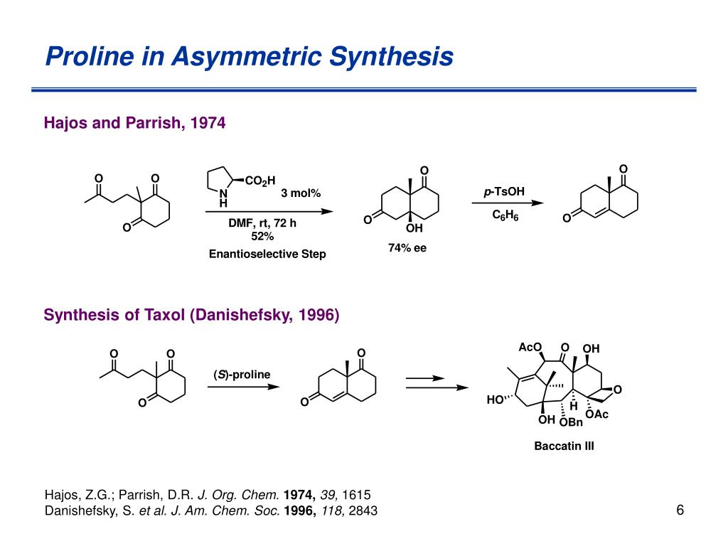 Proline in Asymmetric Synthesis