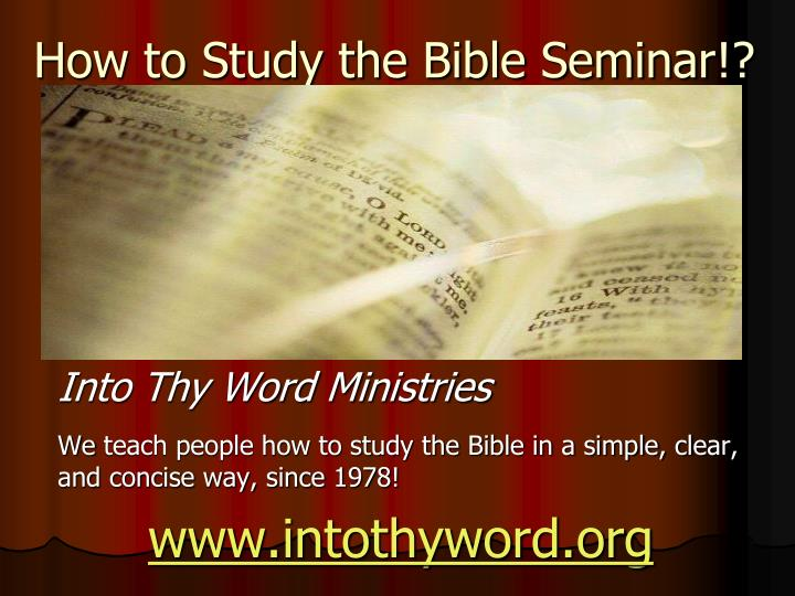 how to study the bible seminar n.