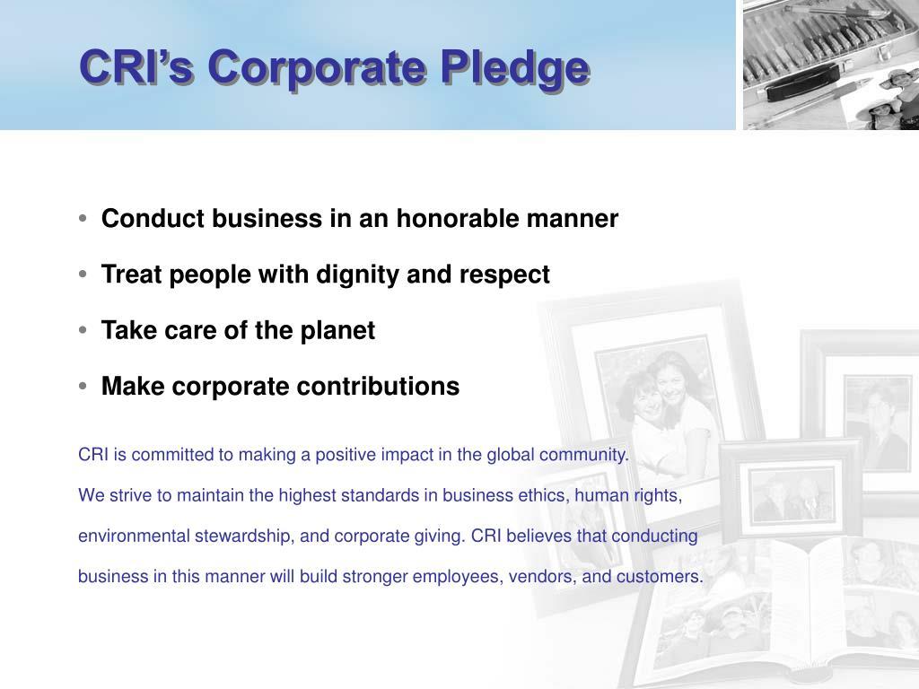 CRI's Corporate Pledge