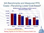 ma benchmarks and measured ffs costs penalizing lower cost areas