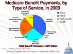 medicare benefit payments by type of service in 2009