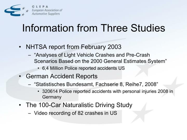 Information from three studies