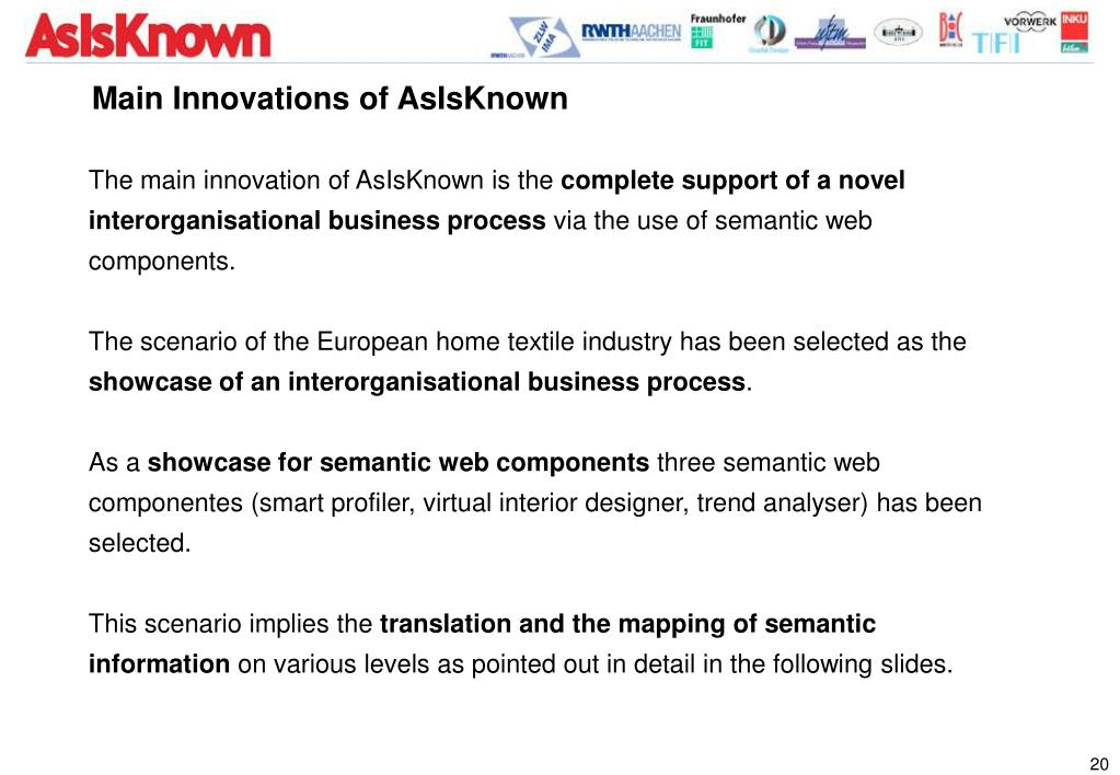 Main Innovations of AsIsKnown