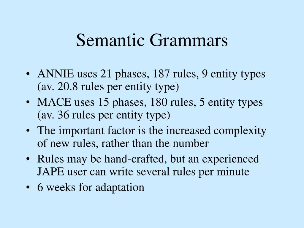 Semantic Grammars