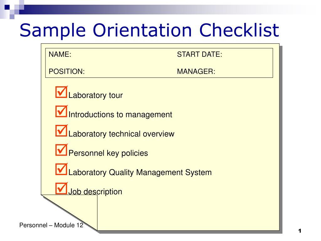 PPT - Sample Orientation Checklist PowerPoint Presentation - ID:746123