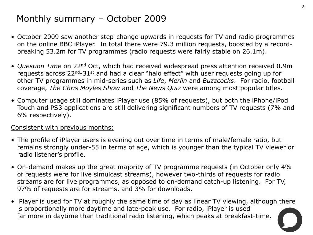 Monthly summary – October 2009