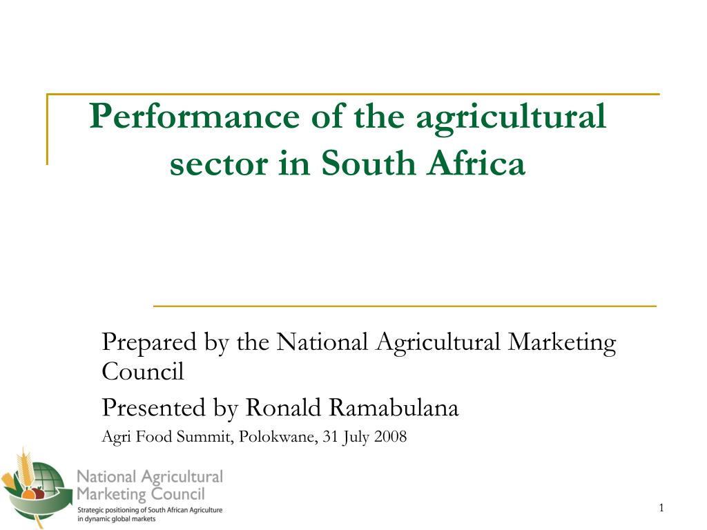 performance of the agricultural sector in south africa l.