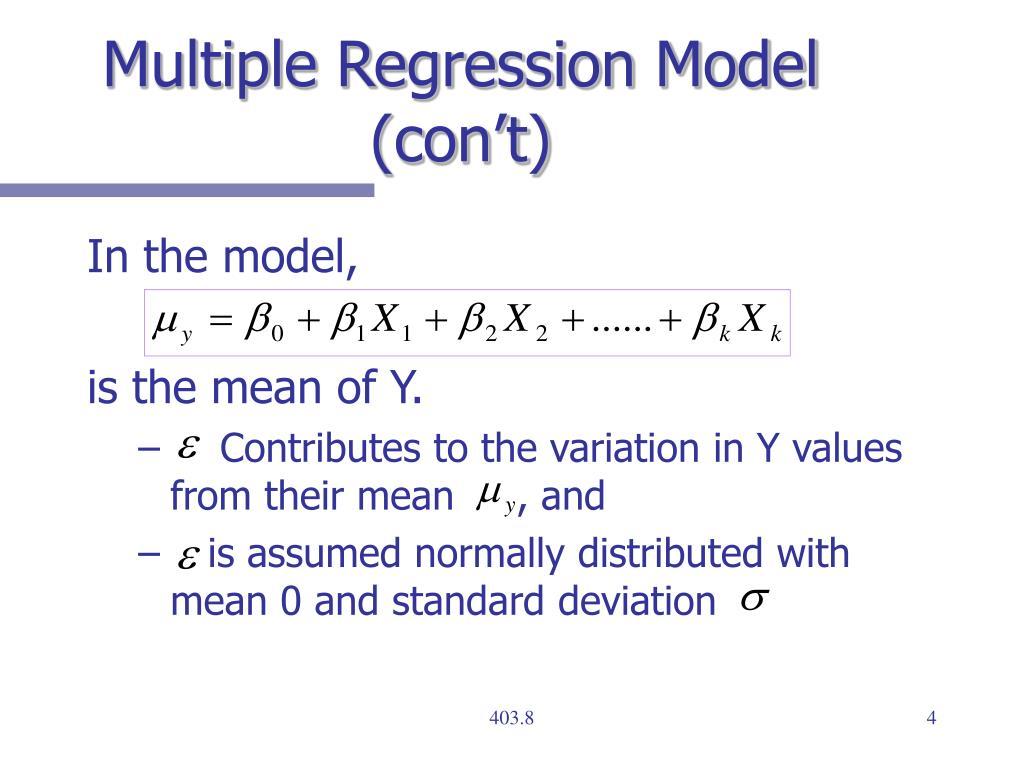 Multiple Regression Model (con't)