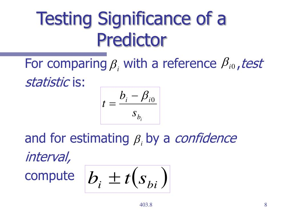 Testing Significance of a Predictor