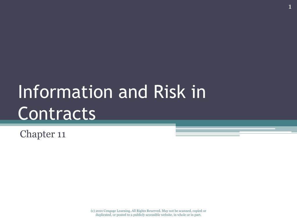 information and risk in contracts l.