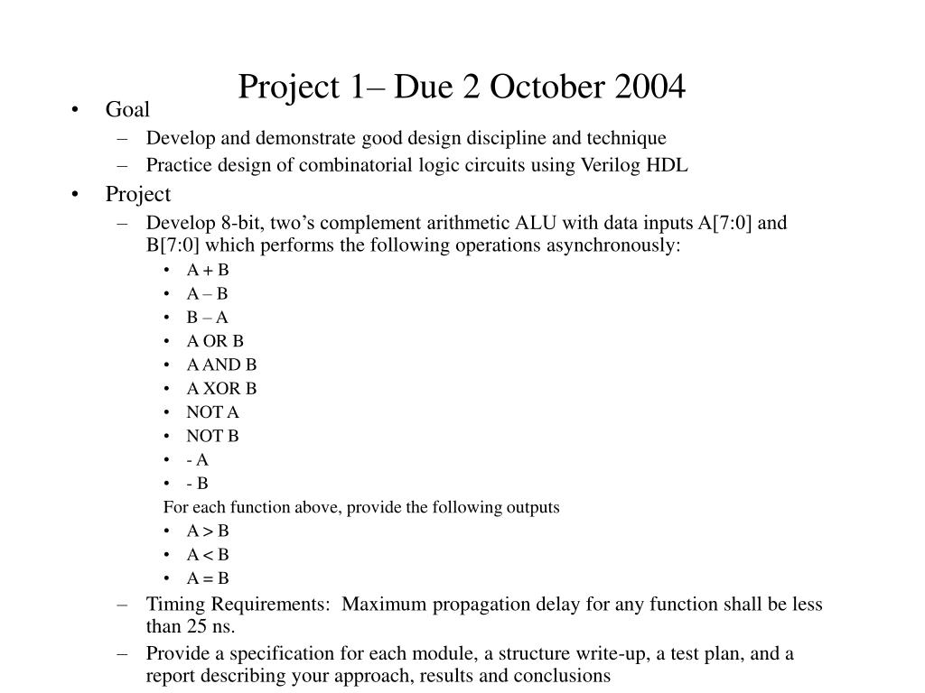 Project 1– Due 2 October 2004