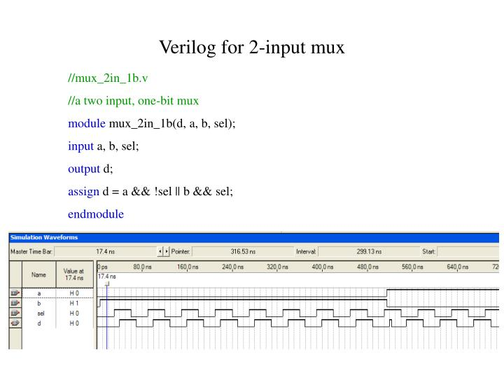 Verilog for 2 input mux
