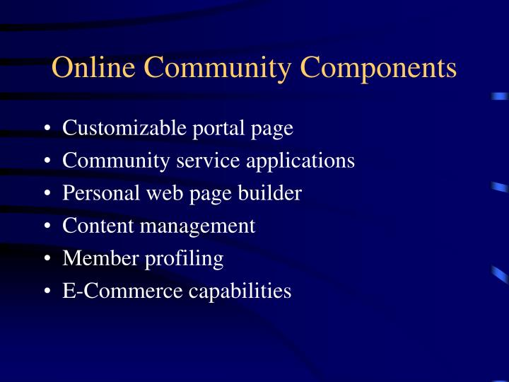 Online community components