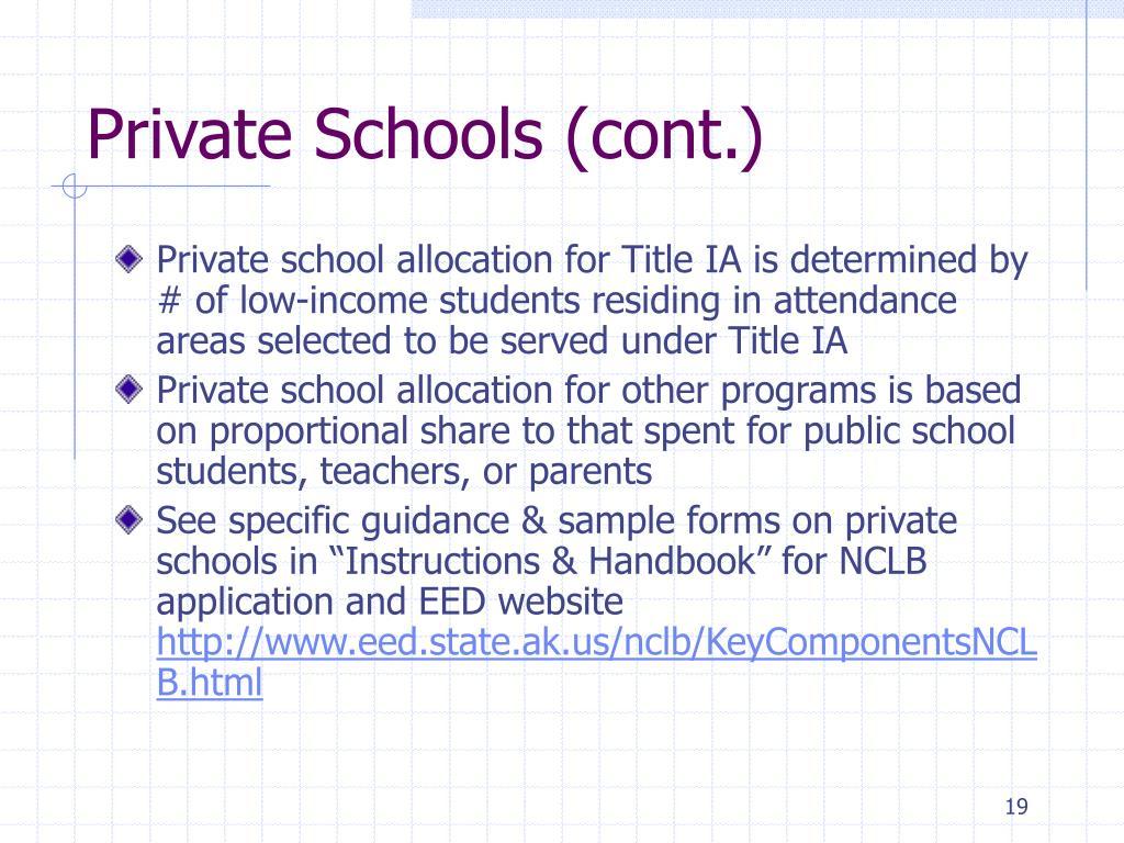 Private Schools (cont.)