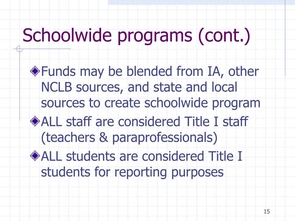 Schoolwide programs (cont.)