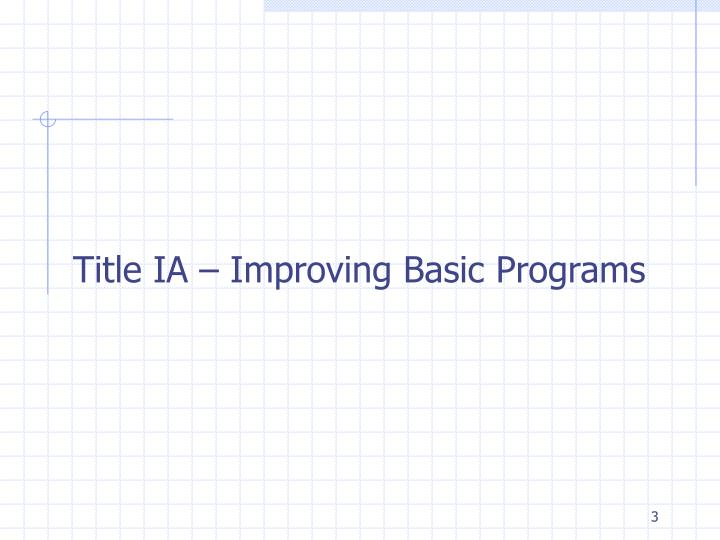 Title IA – Improving Basic Programs