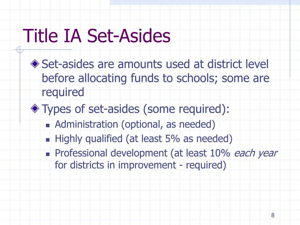 Title IA Set-Asides