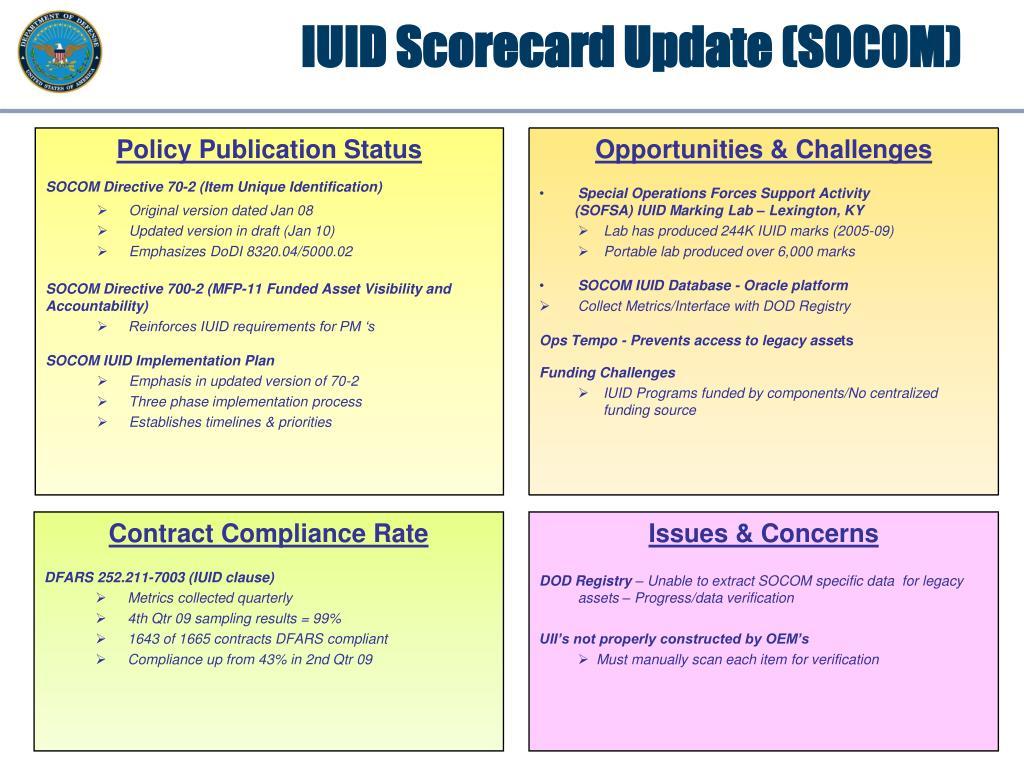 IUID Scorecard Update (SOCOM)
