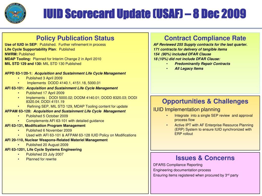 IUID Scorecard Update (USAF) – 8 Dec 2009