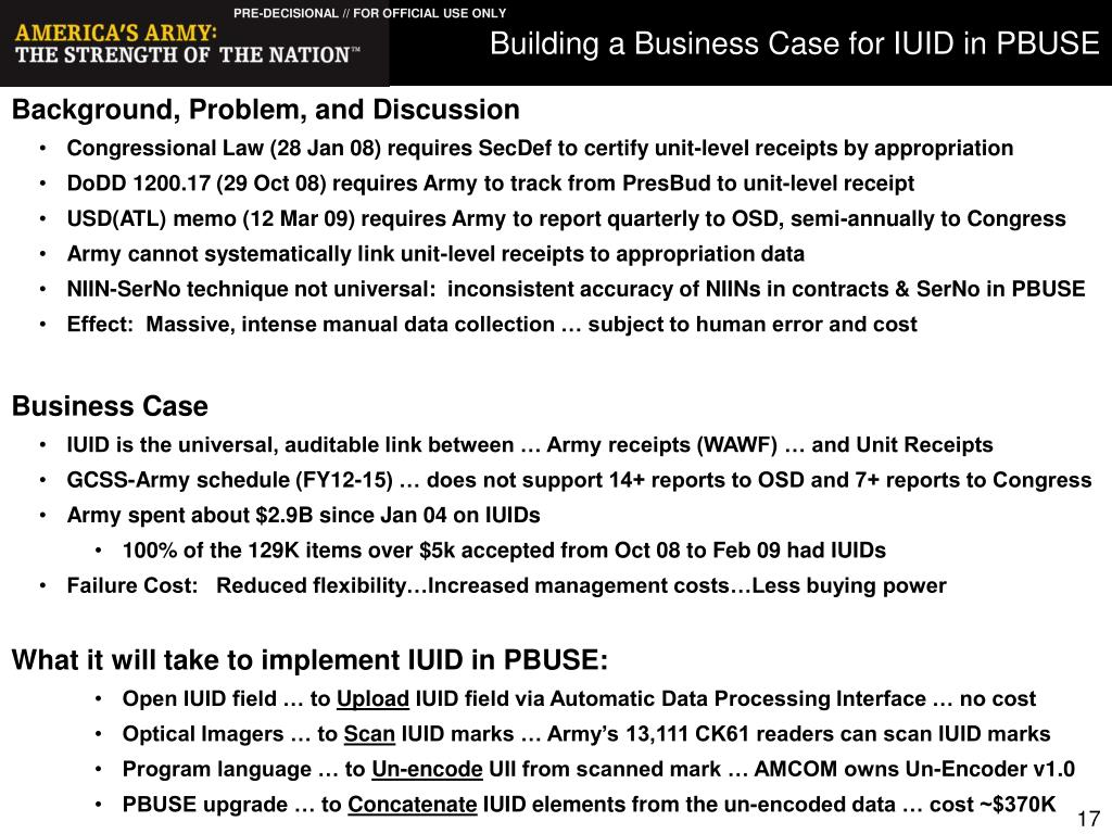 Building a Business Case for IUID in PBUSE