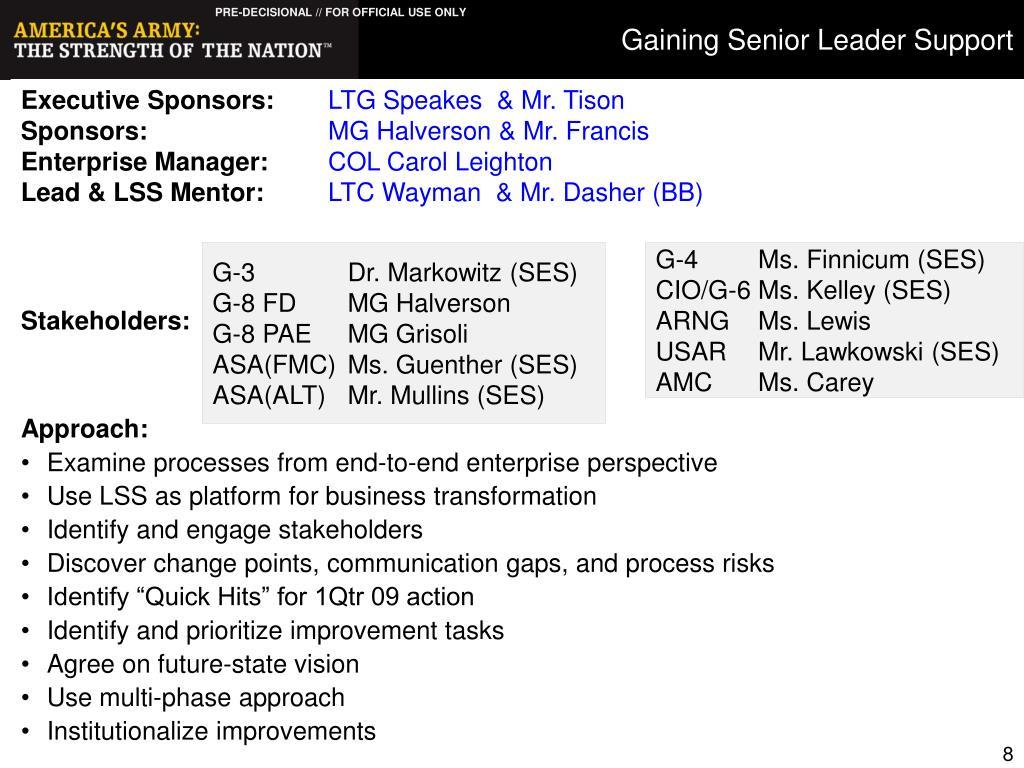 Gaining Senior Leader Support