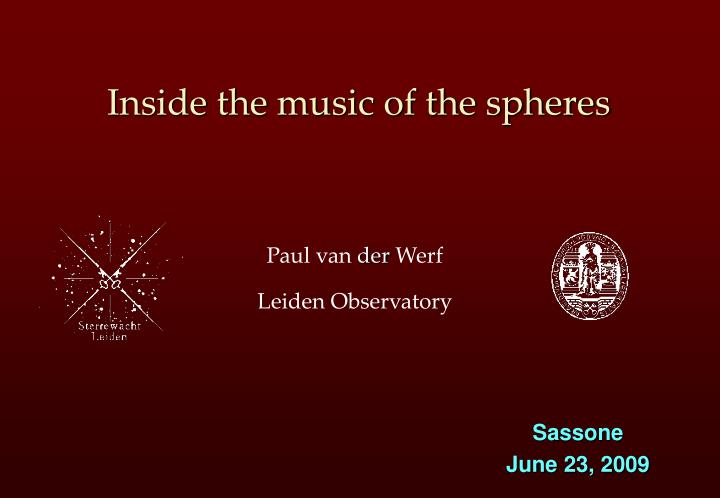 inside the music of the spheres n.