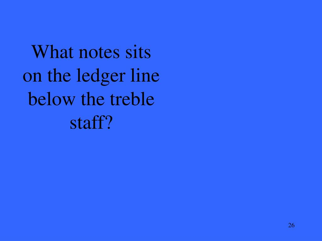 What notes sits on the ledger line below the treble staff?
