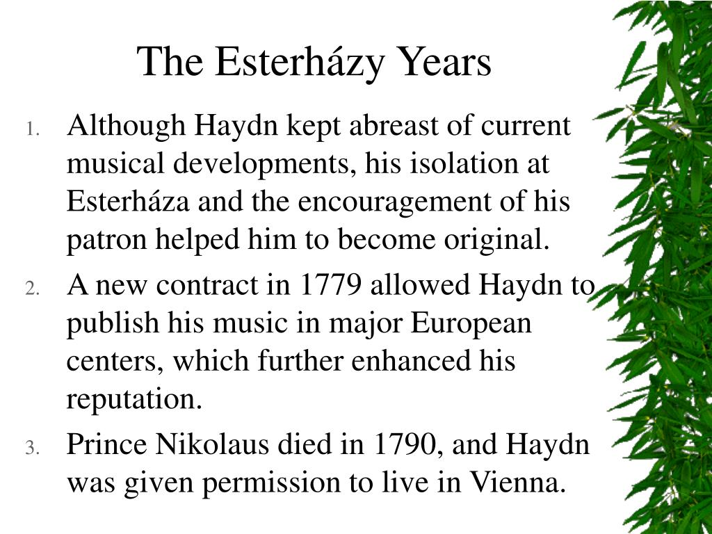 The Esterházy Years