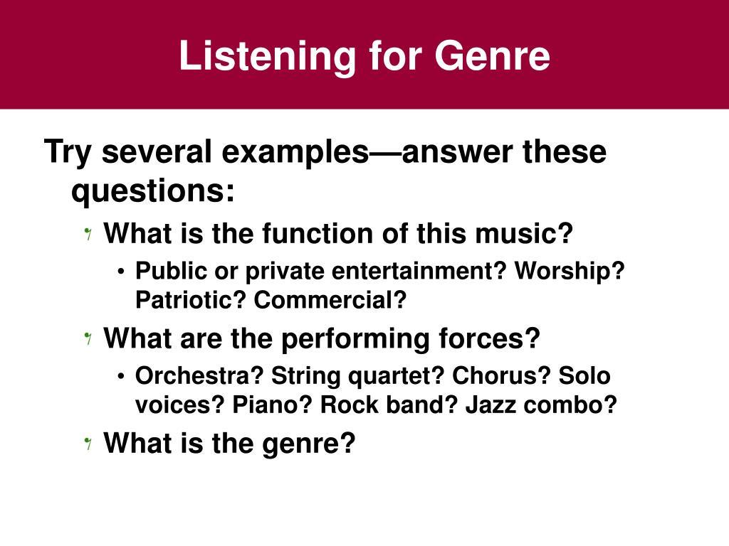 Listening for Genre