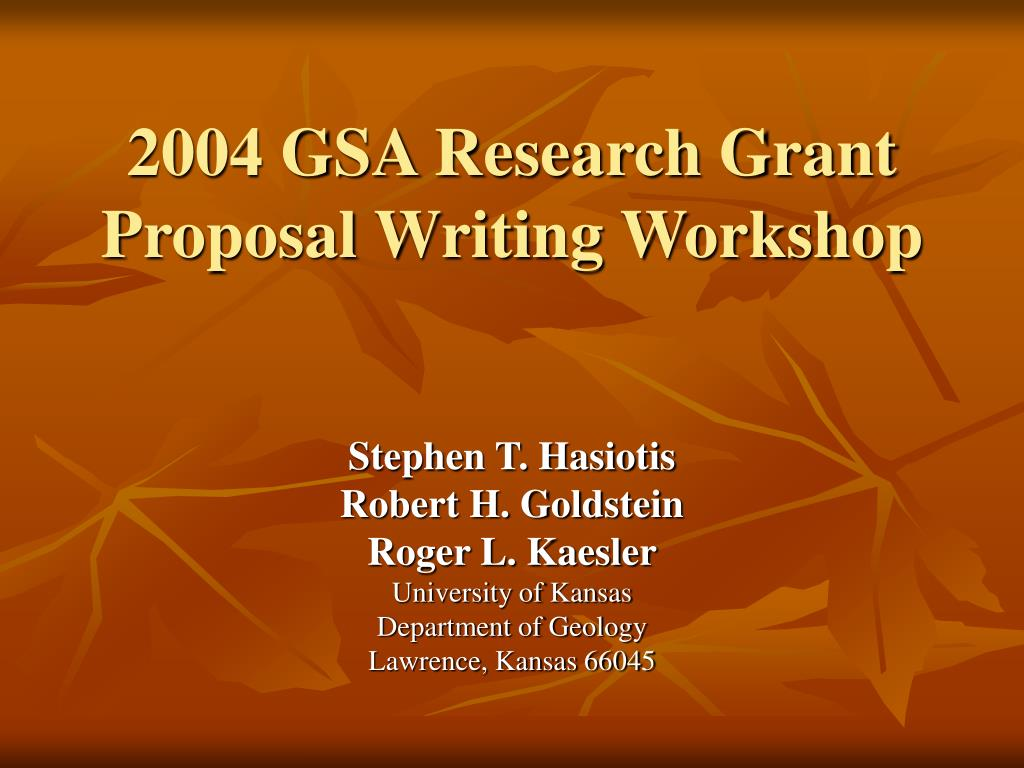 2004 gsa research grant proposal writing workshop l.