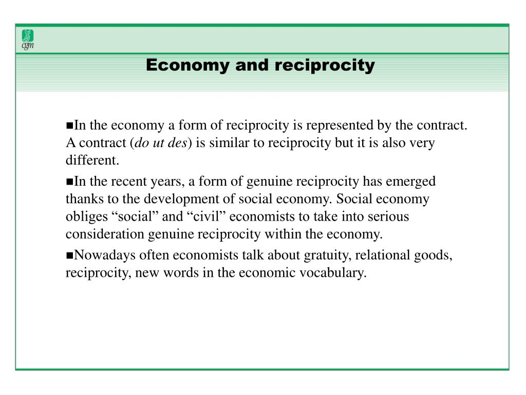 Economy and reciprocity