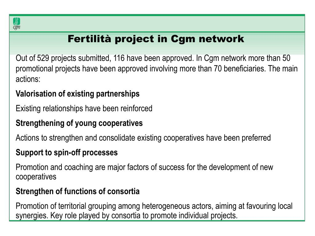 Fertilità project in Cgm network