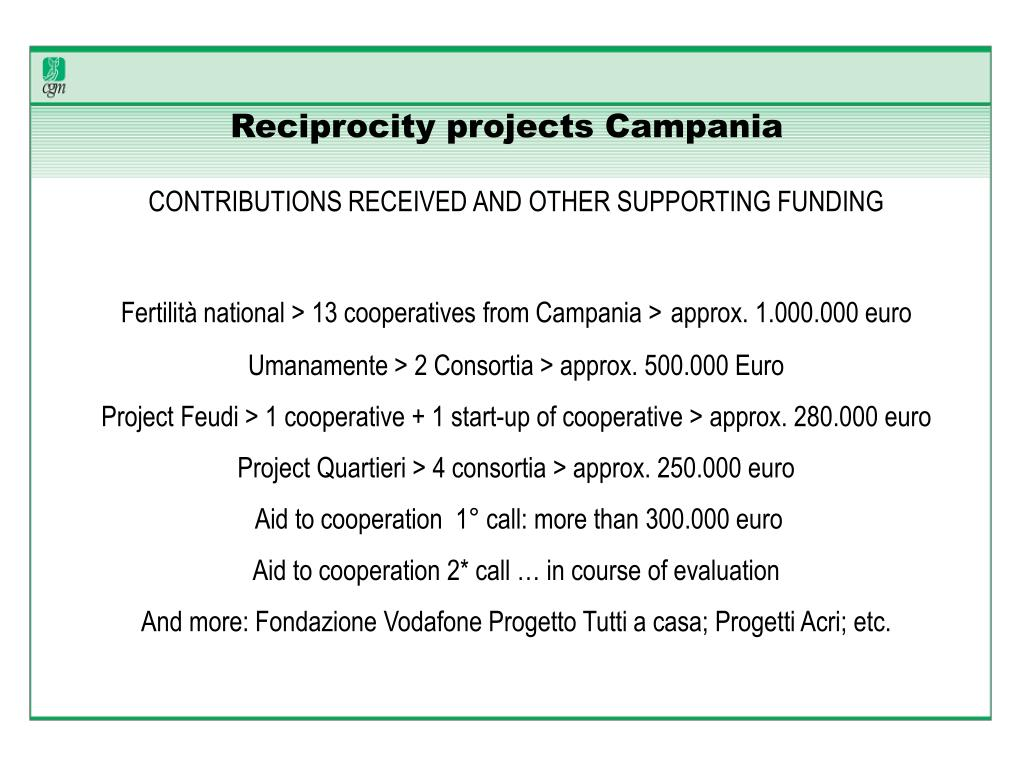 Reciprocity projects Campania