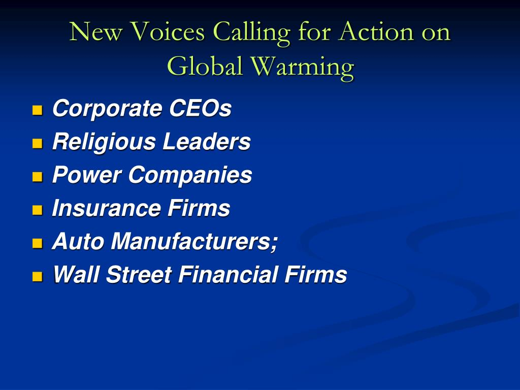 New Voices Calling for Action on Global Warming