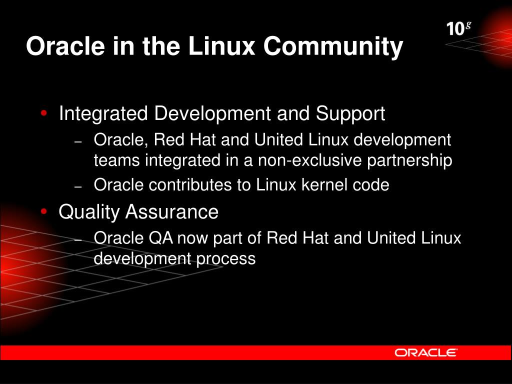 Oracle in the Linux Community