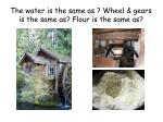 the water is the same as wheel gears is the same as flour is the same as