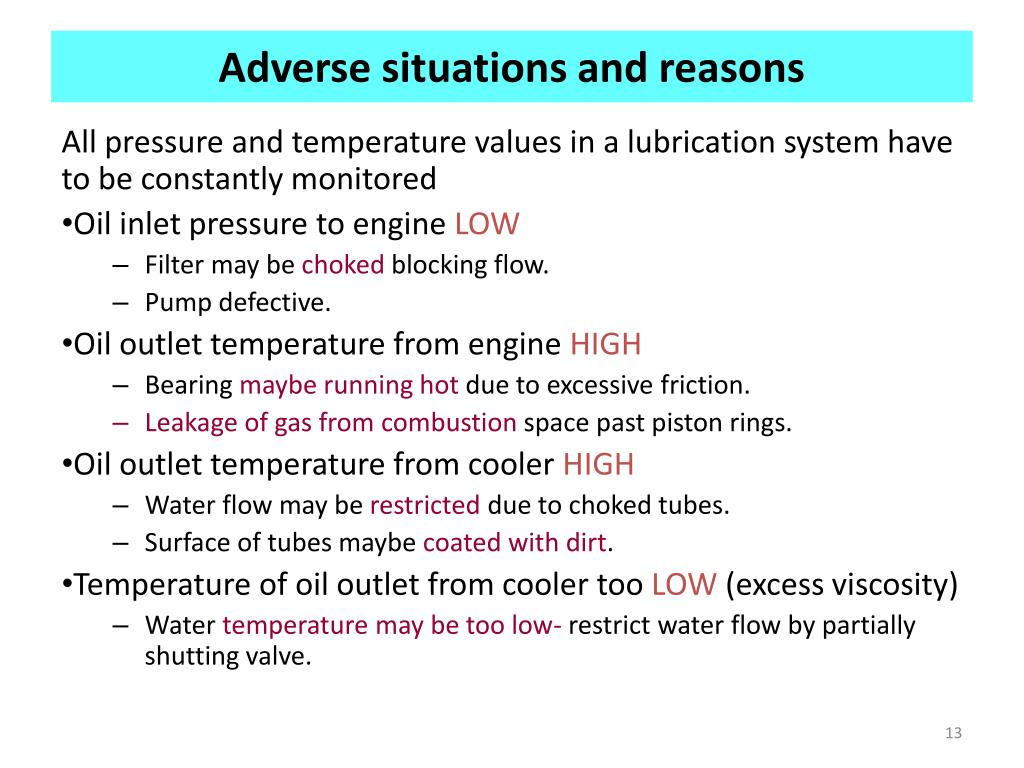 Adverse situations and reasons