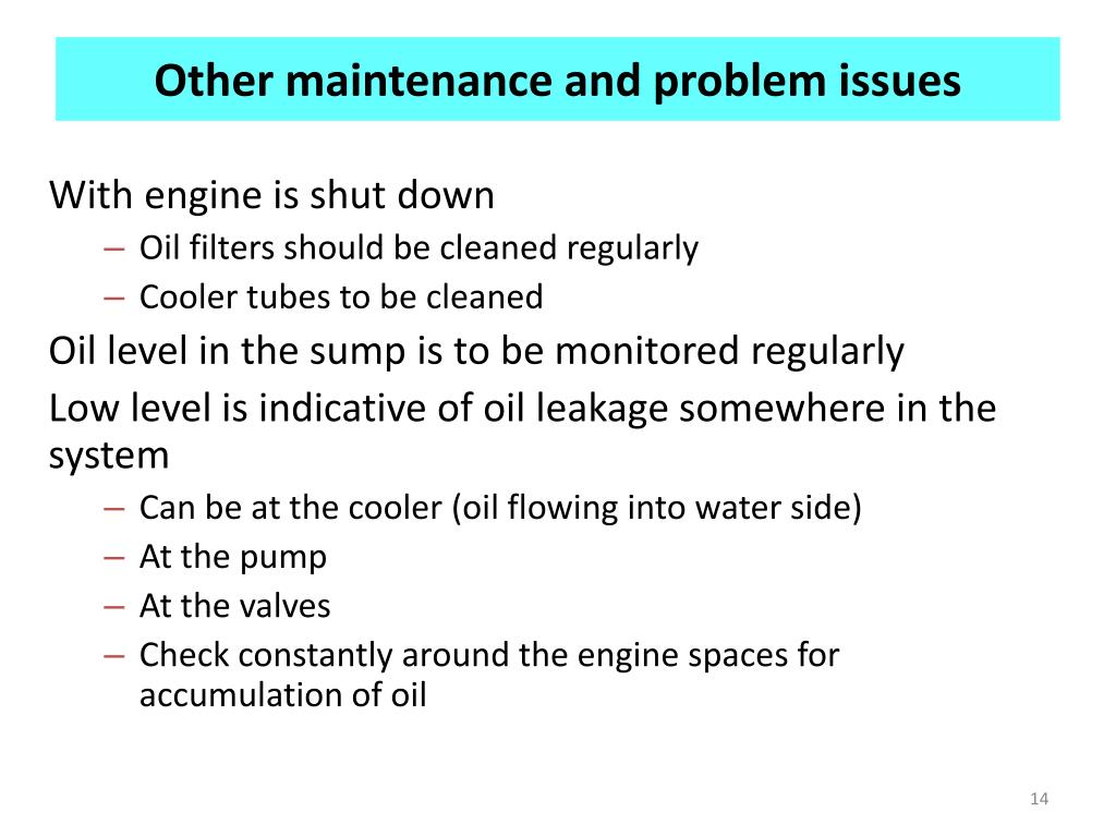 Other maintenance and problem issues
