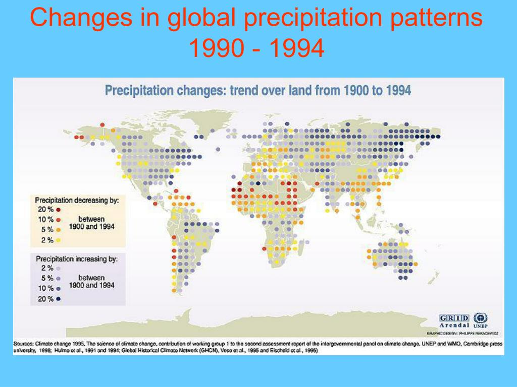 Changes in global precipitation patterns 1990 - 1994