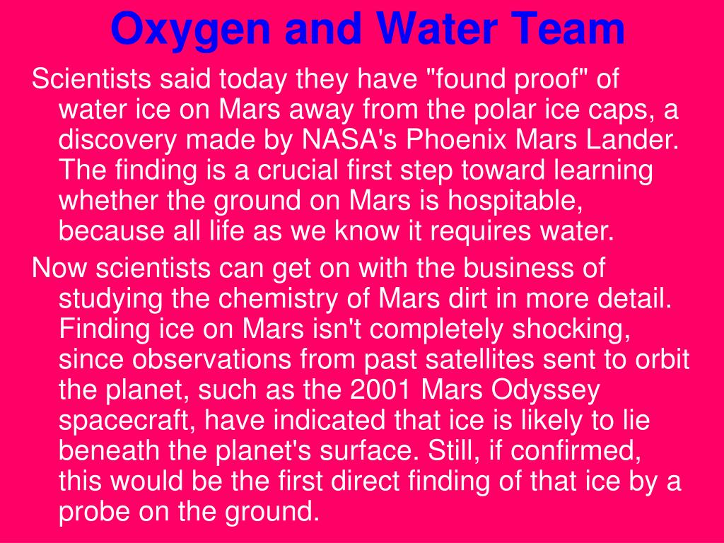 Oxygen and Water Team