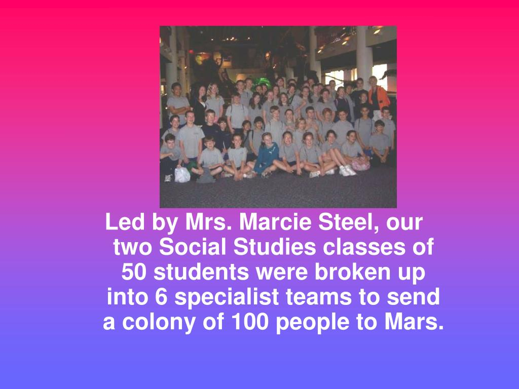 Led by Mrs. Marcie Steel, our two Social Studies classes of 50 students were broken up into 6 specialist teams to send a colony of 100 people to Mars.