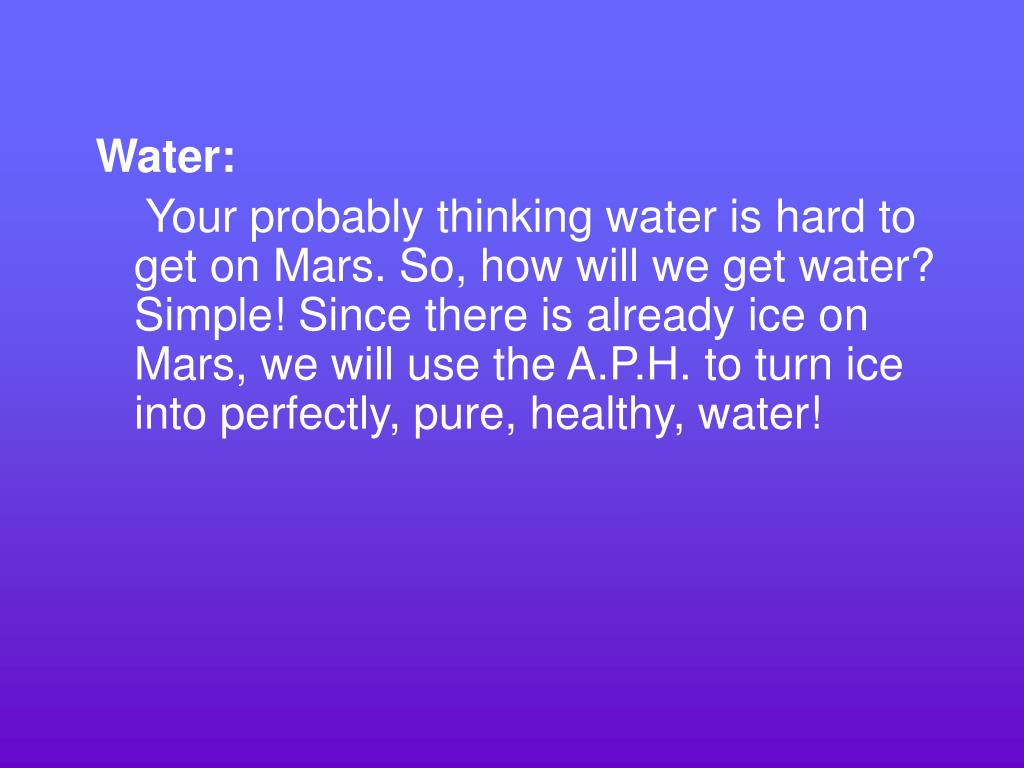 Water: