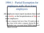 1904 1 partial exemption for employers with 10 or fewer employees
