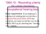 1904 10 recording criteria for cases involving occupational hearing loss