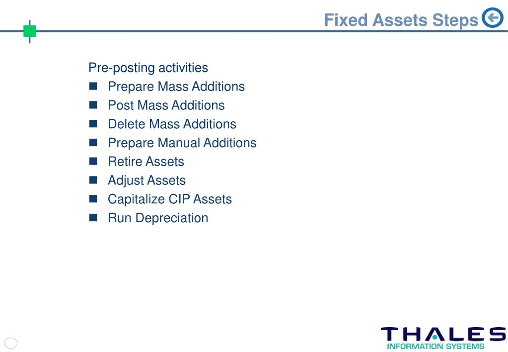 Fixed Assets Steps